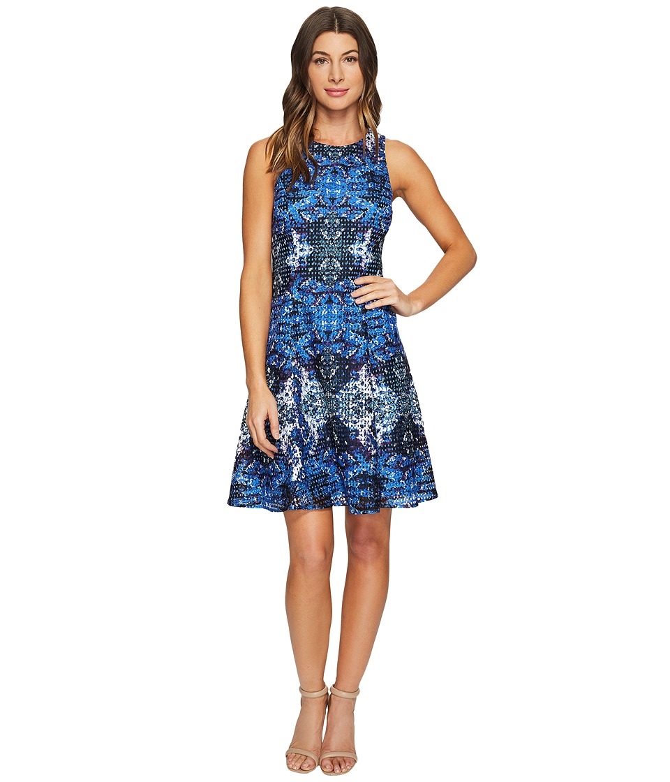 Maggy London - Placed Flower Shield Printed Lace Fit and Flare Dress (Soft White/Cobalt Blue) Women's Dress