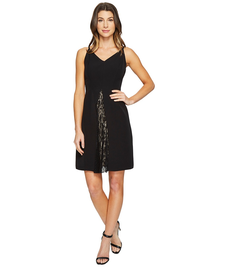 Maggy London - Dream Crepe Fit and Flare Dress with Feminine Lace (Black) Women's Dress