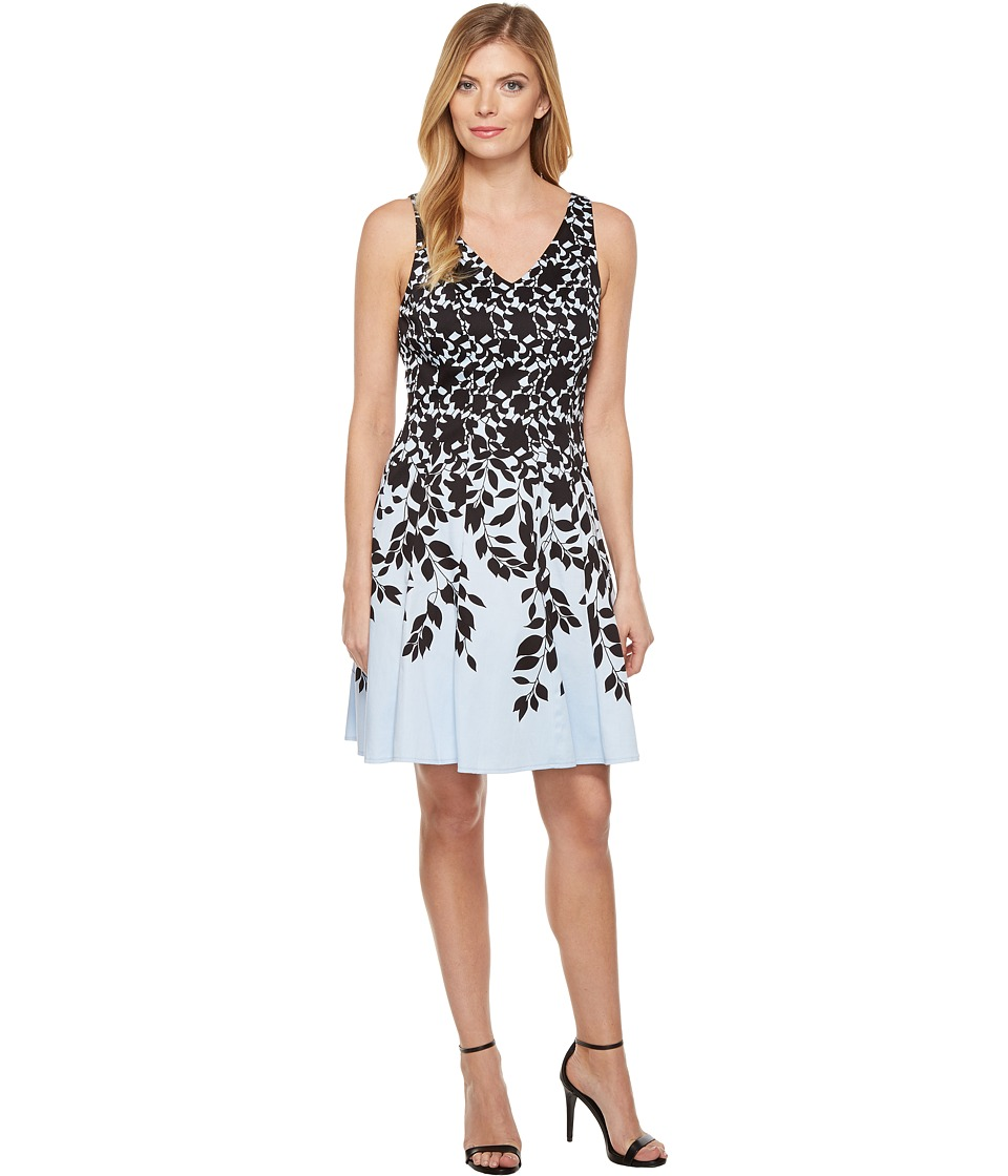 Maggy London - Lace Leaf Border Fit and Flare Dress (Sky/Black) Women's Dress
