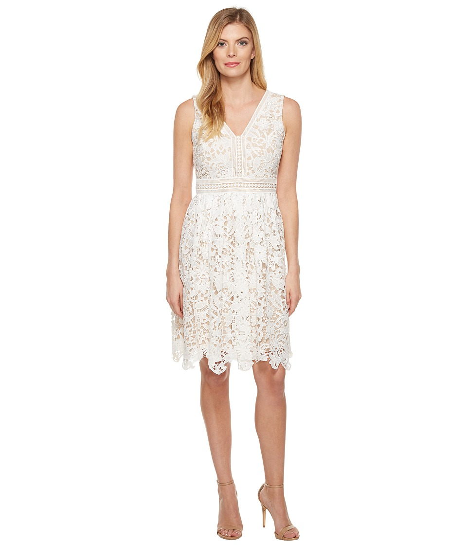 Maggy London - Vine Flower Lace Fit and Flare Dress (White) Women's Dress