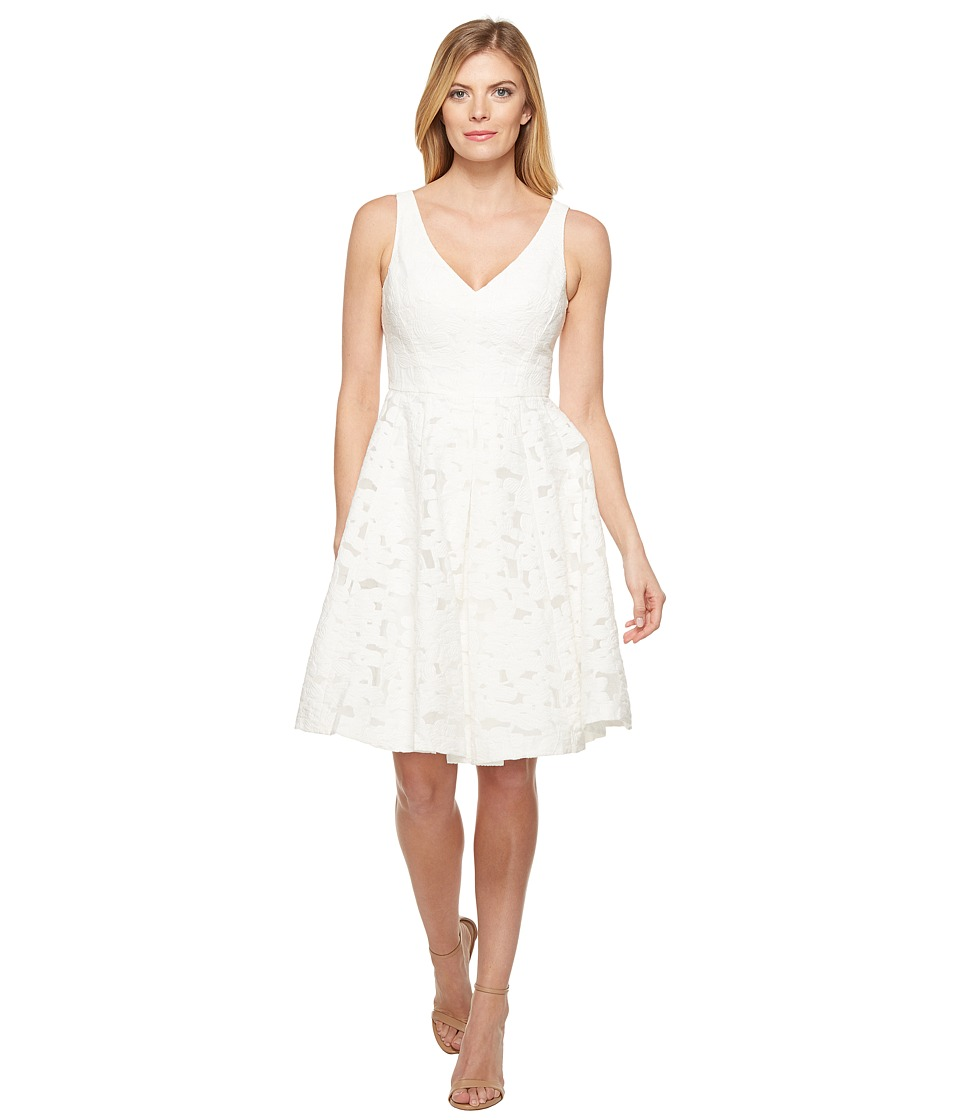 Maggy London - Sheer Blossom Burnout Fit and Flare Dress (White) Women's Dress