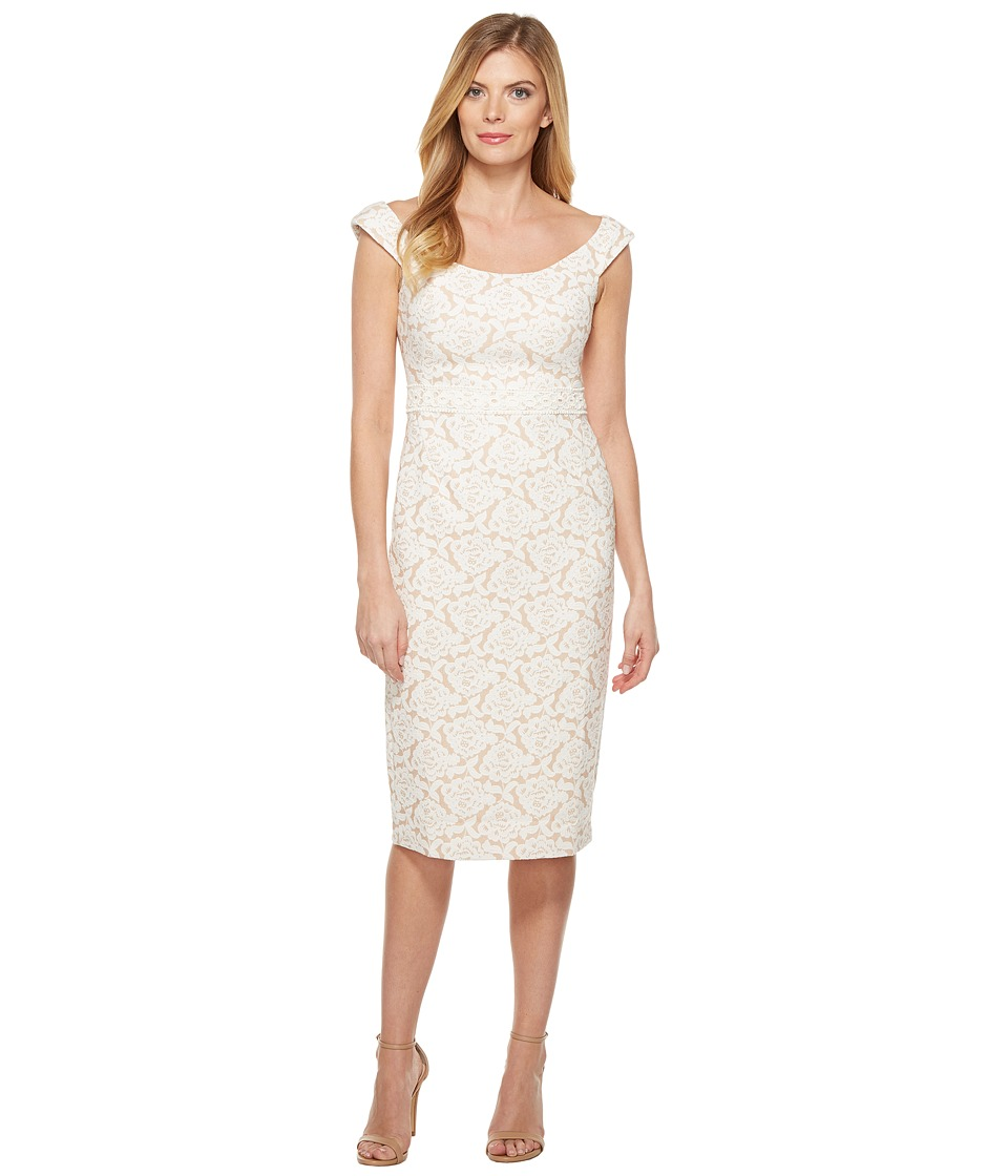 Maggy London - Natural Bloom Jacquard Sheath Dress (Natural) Women's Dress