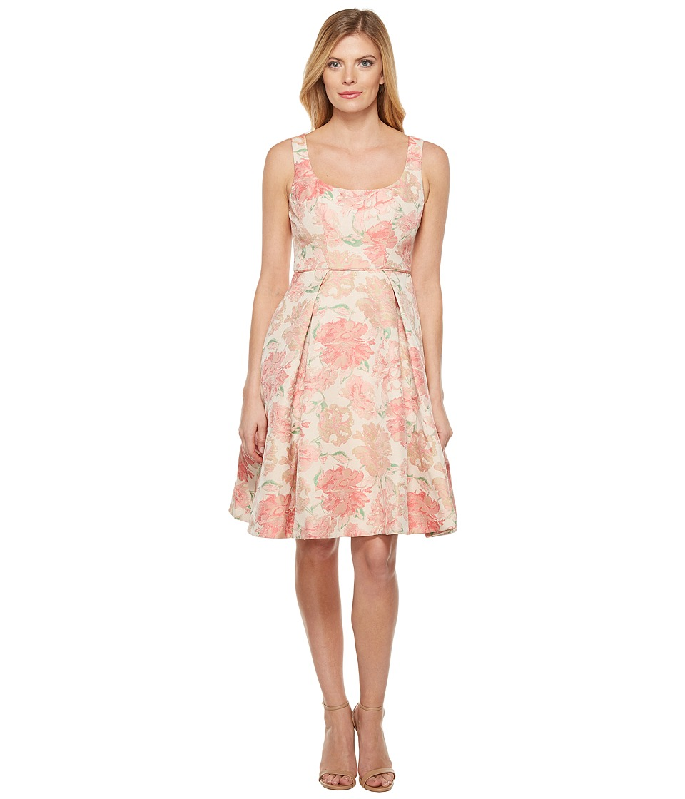 Maggy London Jacquard Bloom Fit and Flare Dress (Pink/Green) Women