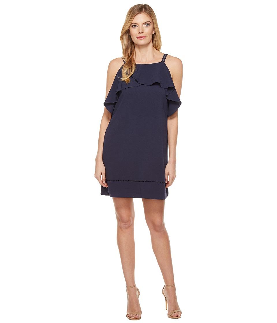 Maggy London - 30s Crepe Cold Shoulder Shift Dress (Navy) Women's Dress
