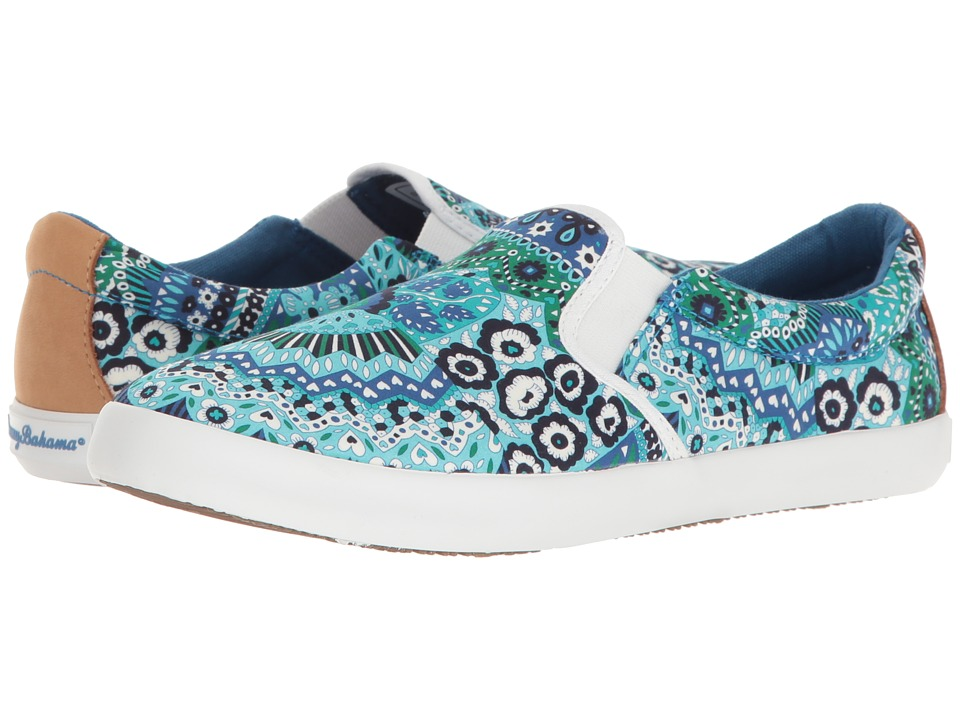 Tommy Bahama - Enisa Double Gore (Fan Tropic Print/Cobalt Craze) Women's Slip on Shoes