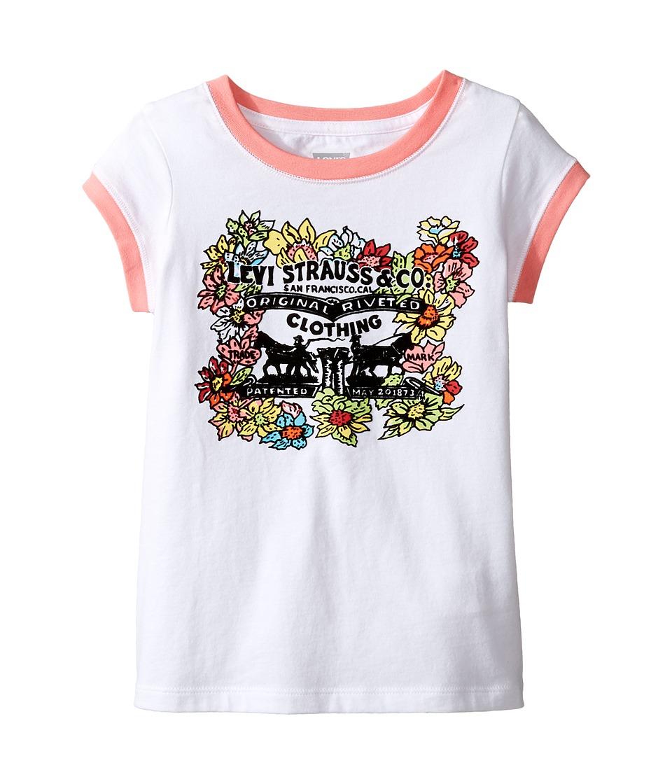 Levi's(r) Kids - Ringer Tee Short Sleeve Knit Top (Little Kids) (White) Girl's Short Sleeve Pullover