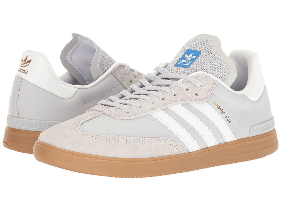 adidas Skateboarding - Samba ADV (Light Grey Heather Solid Grey/Footwear White/Bluebird) Men's Skate Shoes