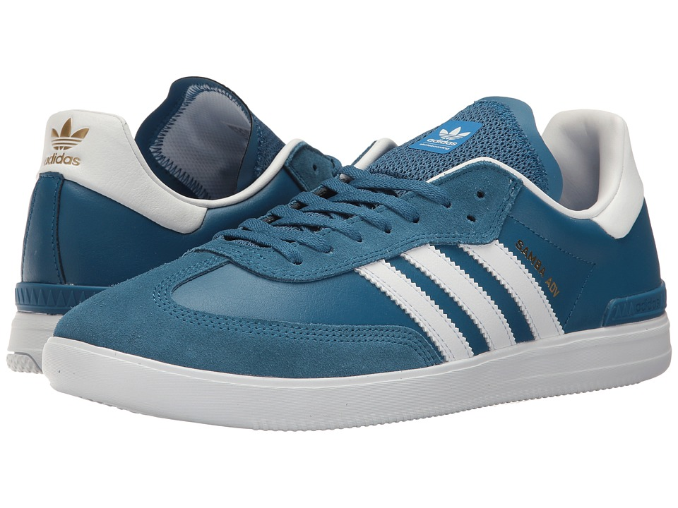adidas Skateboarding - Samba ADV (Core Blue/Footwear White/Bluebird) Men's Skate Shoes