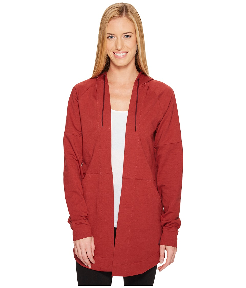 adidas - Comfort Long Hooded Cover-Up (Mystery Red) Women's Sweatshirt