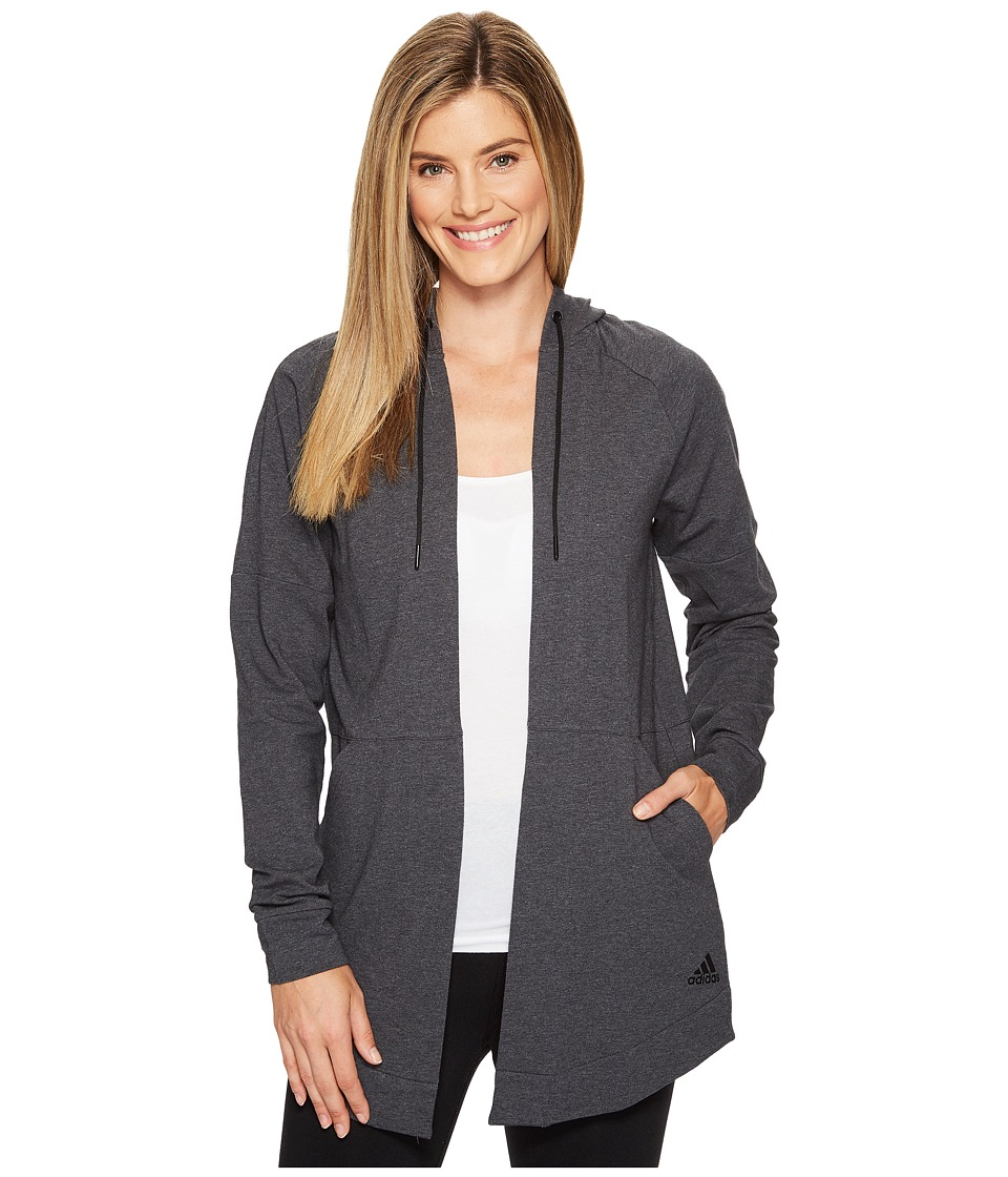 adidas - Comfort Long Hooded Cover-Up (Dark Grey Heather) Women's Sweatshirt
