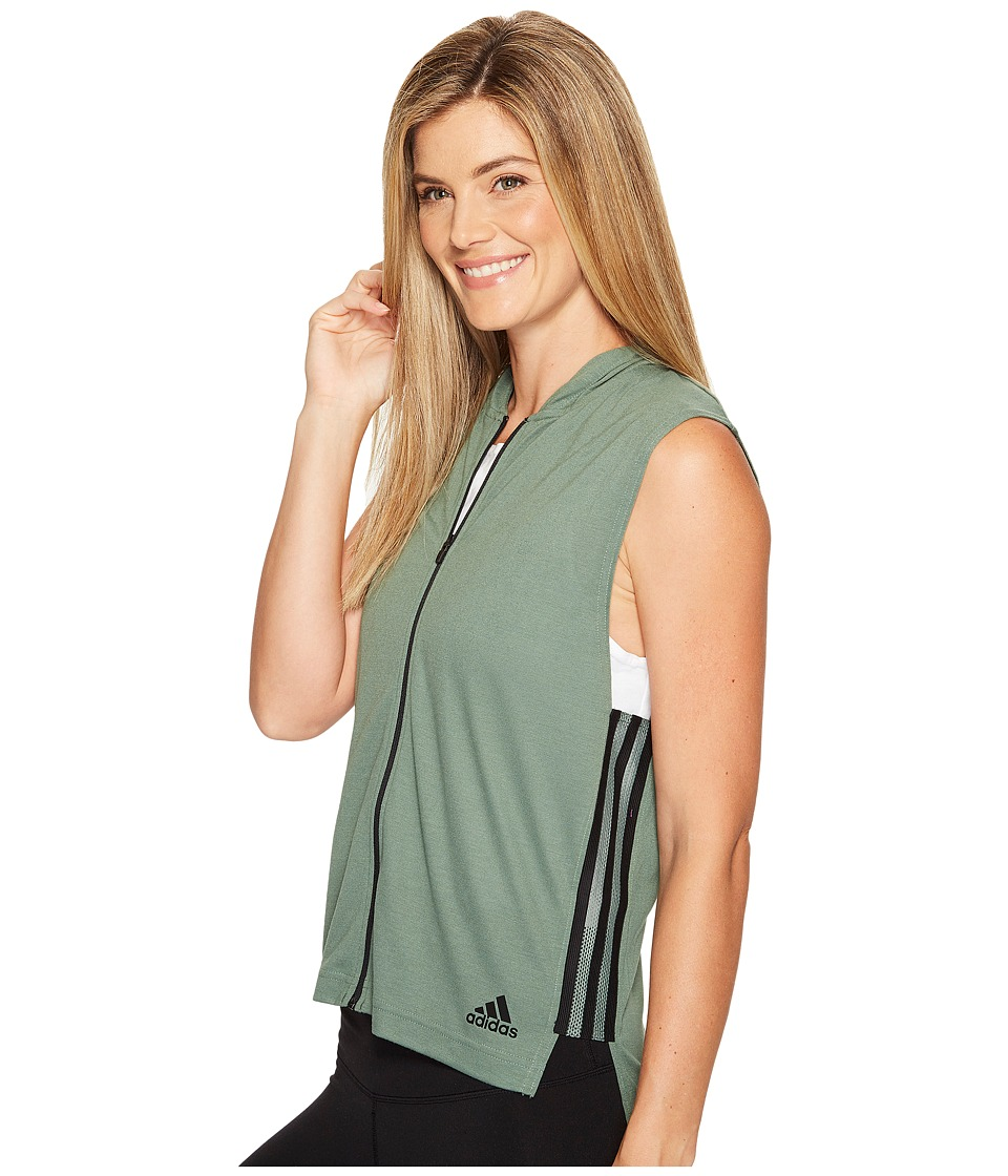 adidas - Show Your Stripes Sleeveless Hoodie (Trace Green) Women's Sleeveless