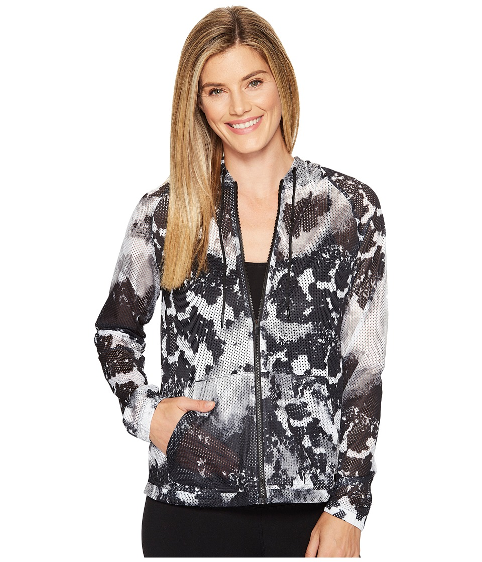 adidas - Sport ID Oxidized Camo Print Mesh Hoodie (White/Grey/Black) Women's Sweatshirt