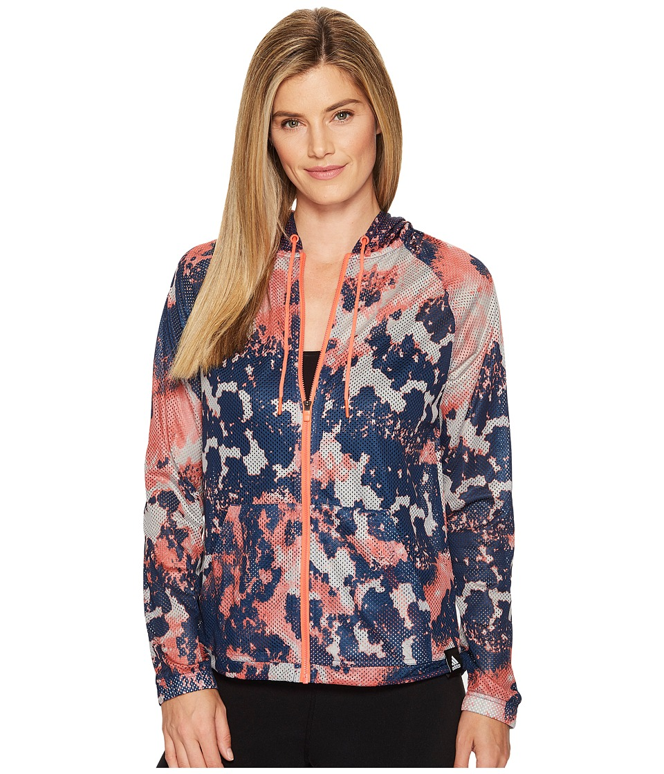 adidas Sport ID Oxidized Camo Print Mesh Hoodie (Medium Grey Heather Solid Grey/Easy Coral/Mystery Blue) Women