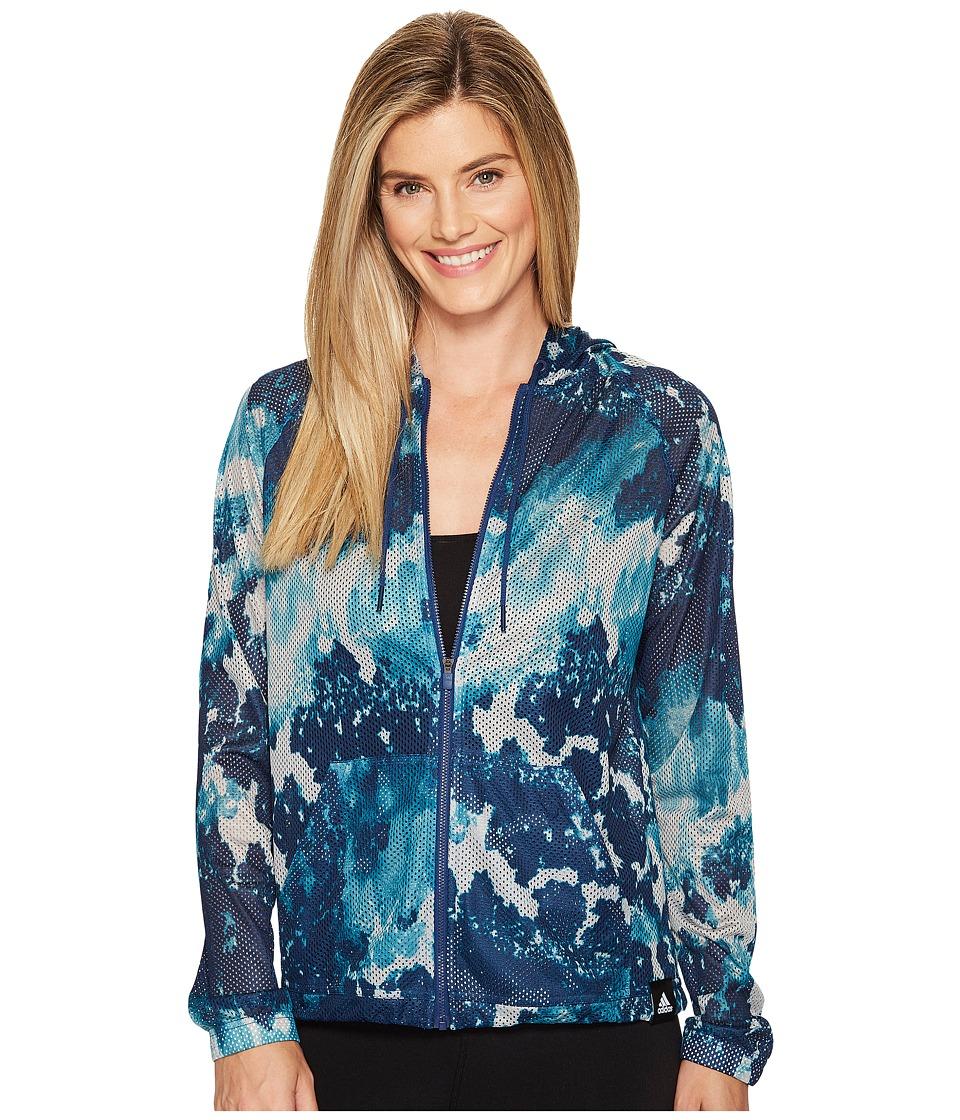 adidas - Sport ID Oxidized Camo Print Mesh Hoodie (Medium Grey Heather Solid Grey/Lab Green/Mystery Blue) Women's Sweatshirt