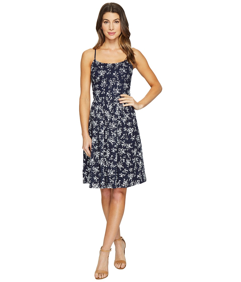 Maggy London Petite Sprig Printed Eyelet Fit and Flare Dress (Navy/Soft White) Women