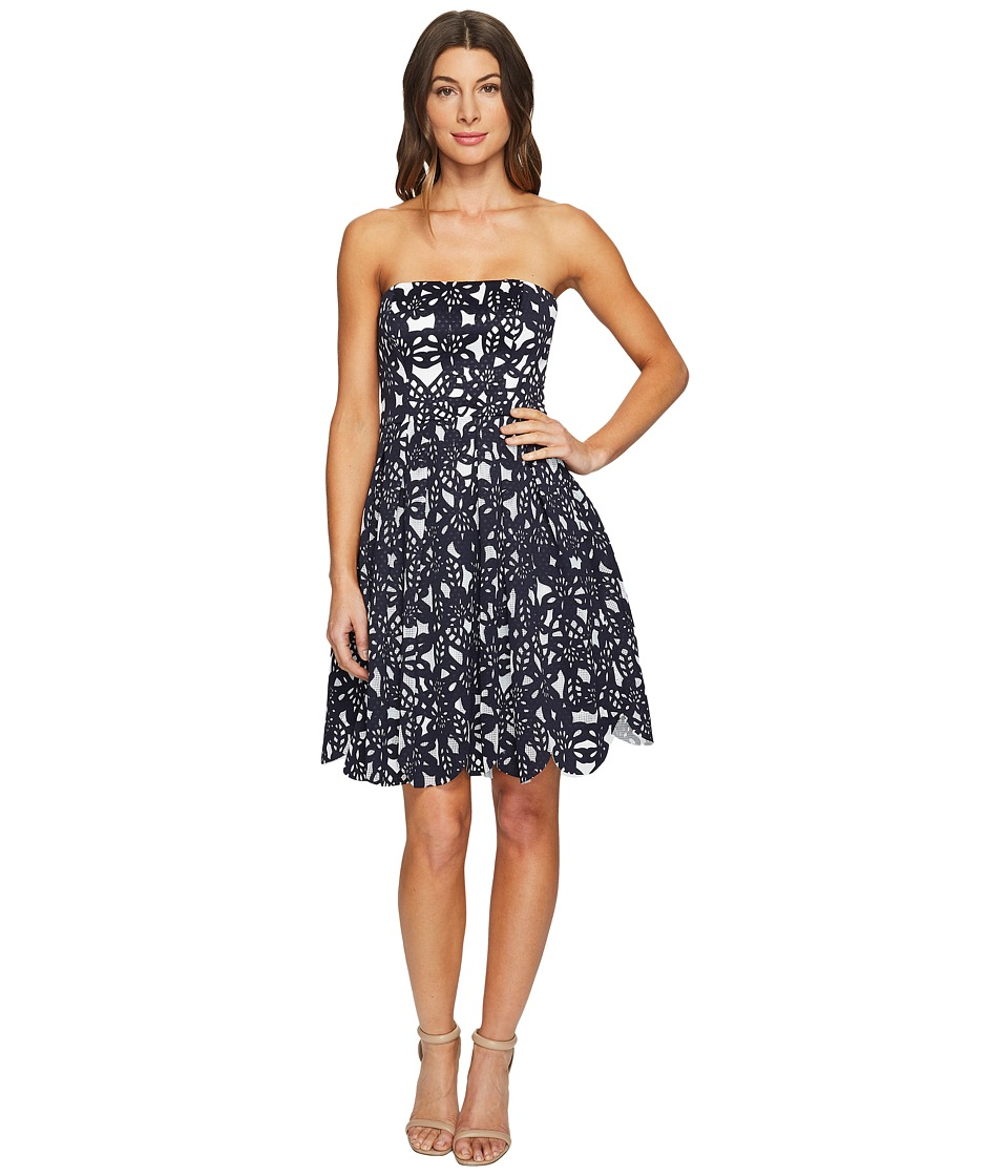 Maggy London - Bonded Mesh Flower Fit and Flare Dress (Navy/White) Women's Dress