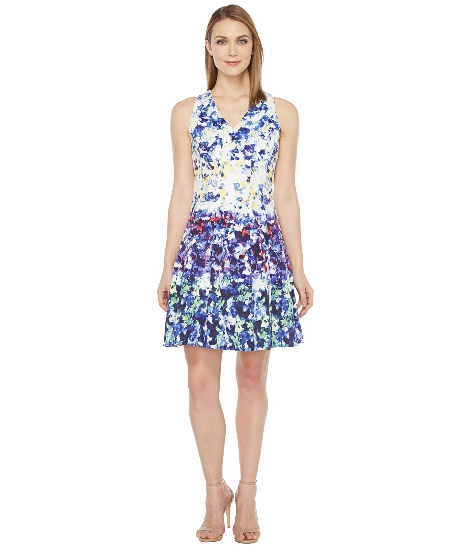 Maggy London - Pansy Meadow Stripe Cotton Fit and Flare Dress (Soft White/Navy) Women's Dress