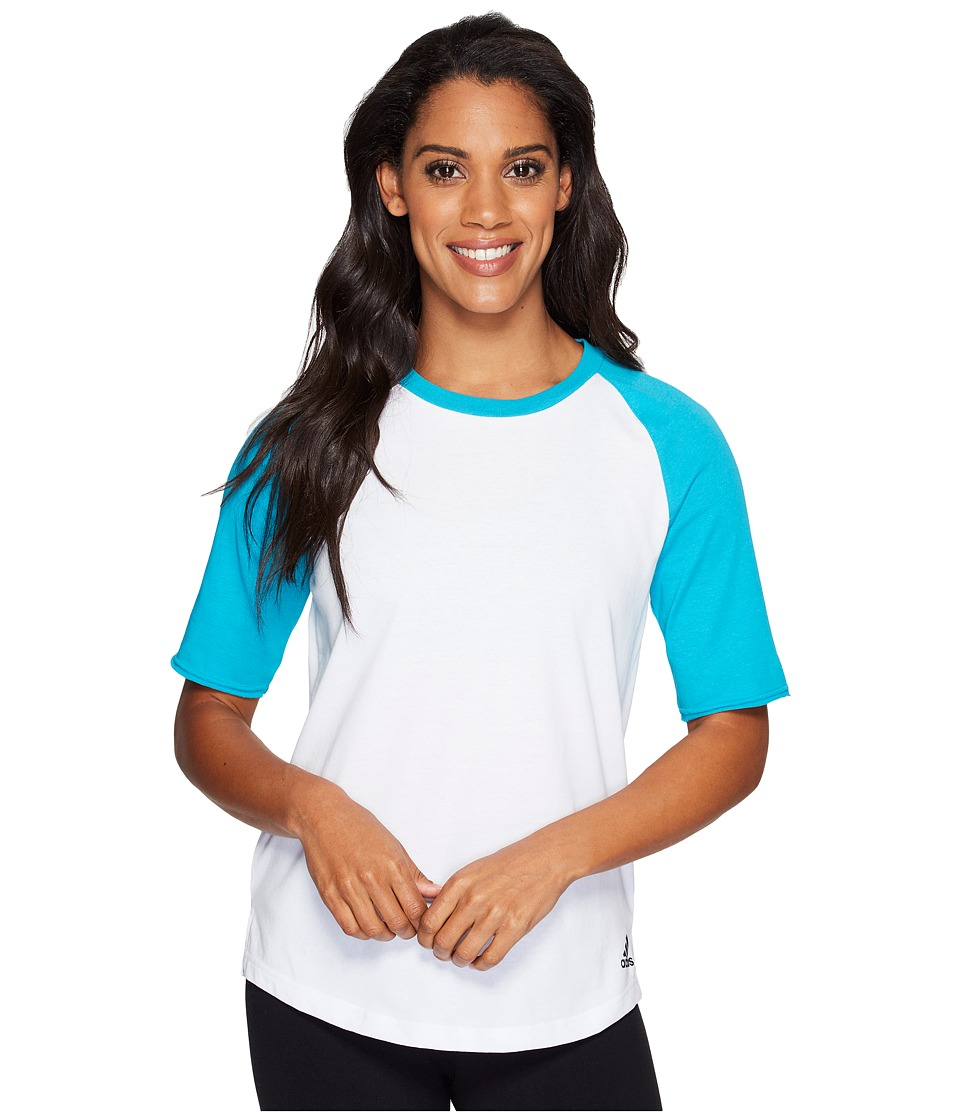adidas - Baseball Short Sleeve Top (White/Lab Green) Women's Long Sleeve Pullover