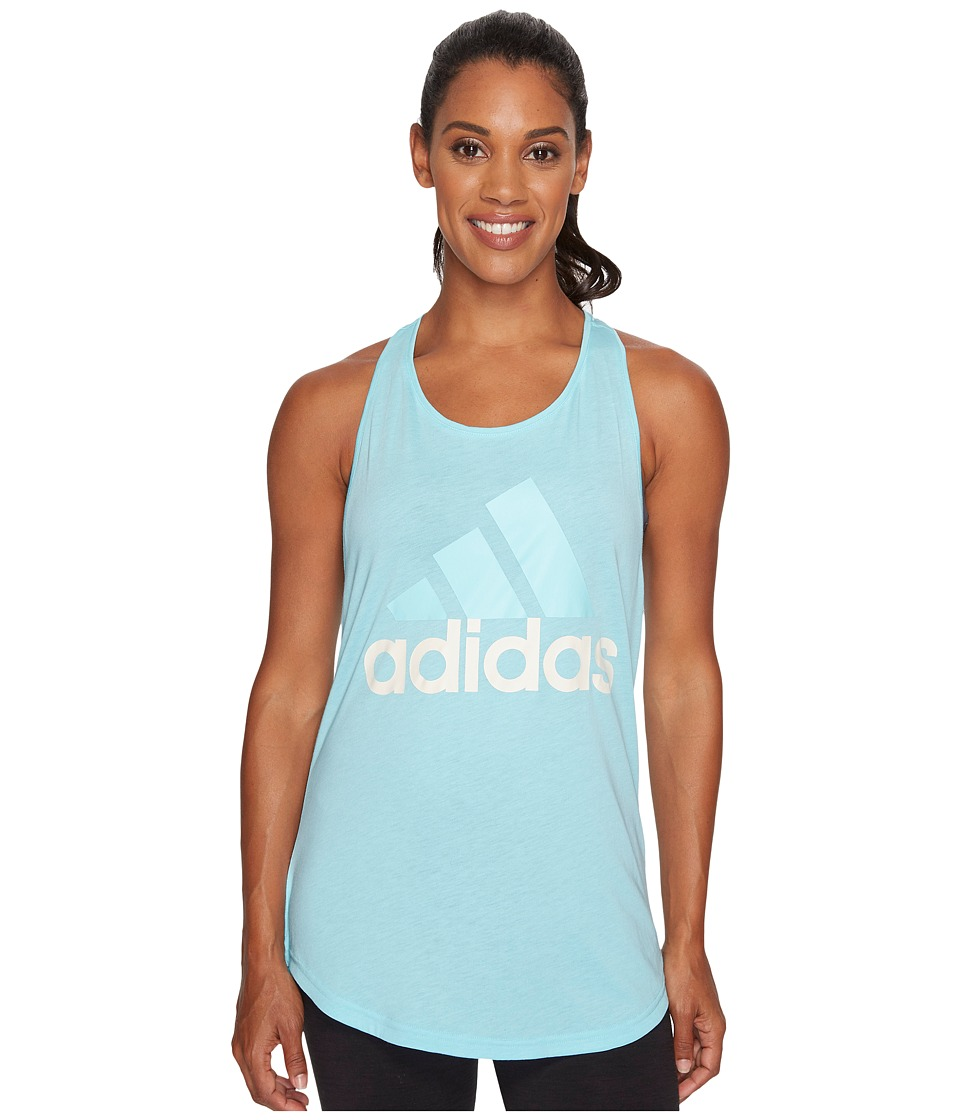 adidas - Essentials Linear Loose Tank Top (Clear Aqua/White) Women's Sleeveless