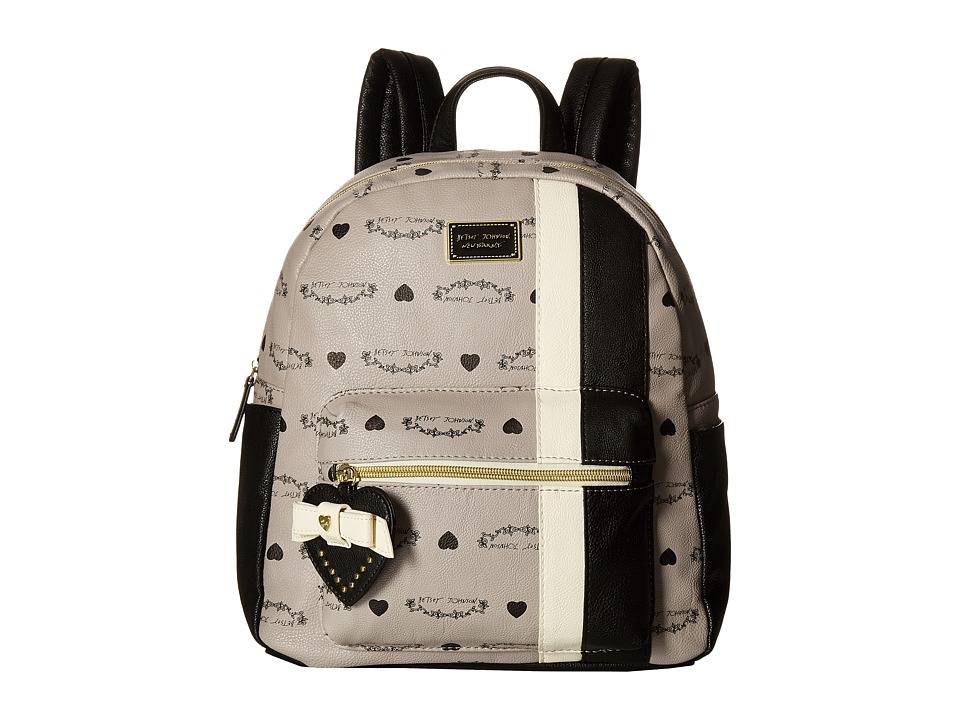 Betsey Johnson - Striped Backpack (Grey) Backpack Bags