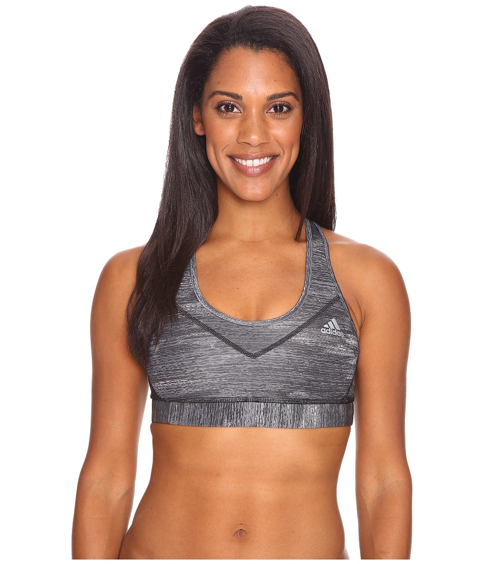 adidas - Printed Heather Techfit Molded Cup Bra (Black Print/Matte Silver) Women's Bra