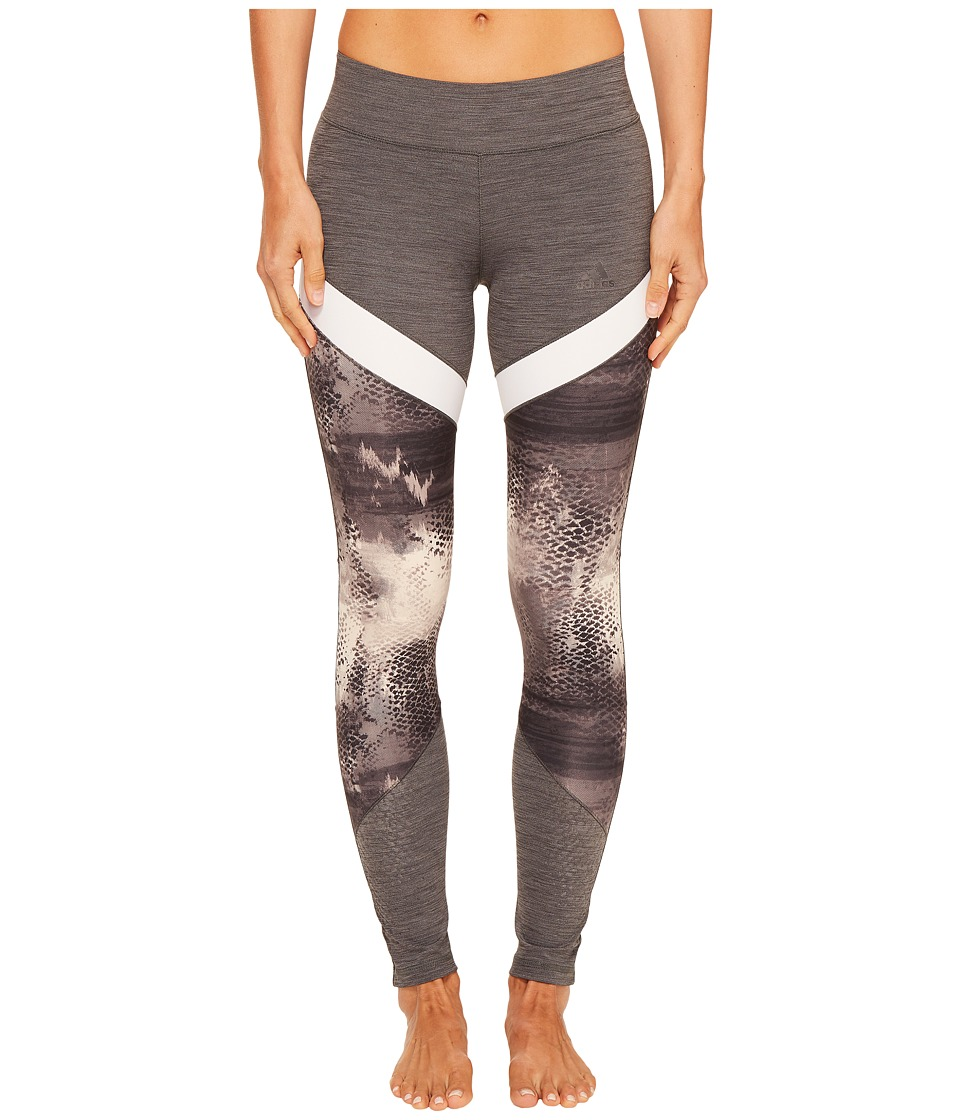 adidas - Ultimate Printed Long Tights (Dark Grey Heather Print) Women's Workout