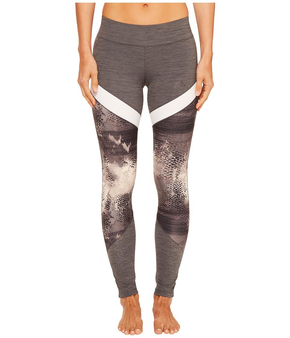 adidas - Ultimate Printed Long Tights (Dark Grey Heather Print) Women's Workout
