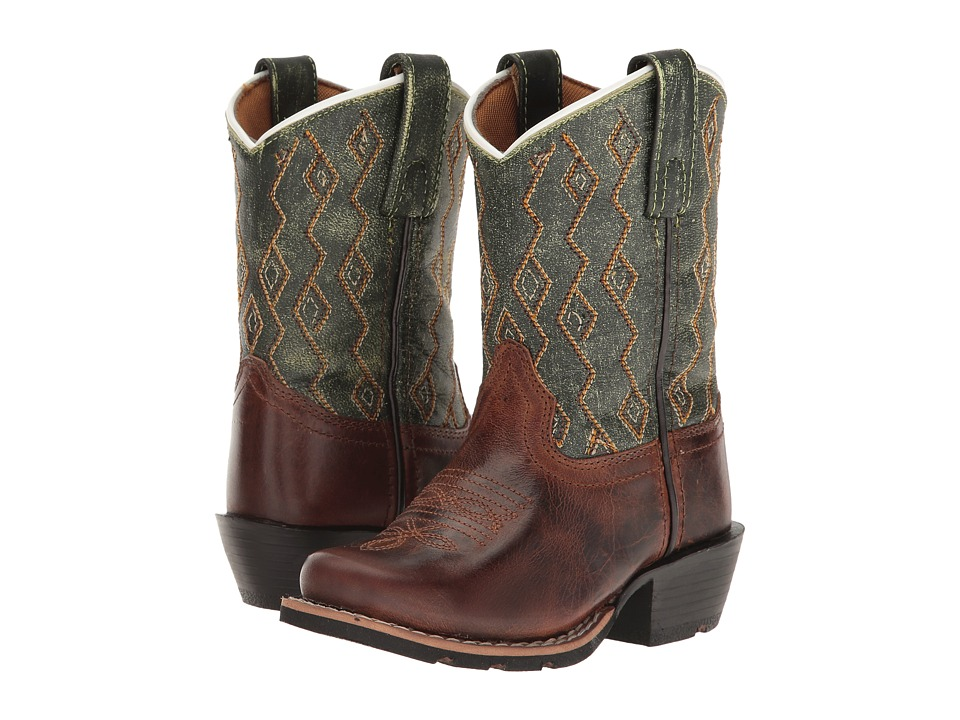 Dan Post Kids Teddy (Toddler/Little Kid) (Rust Earthquake/Sand Green) Cowboy Boots