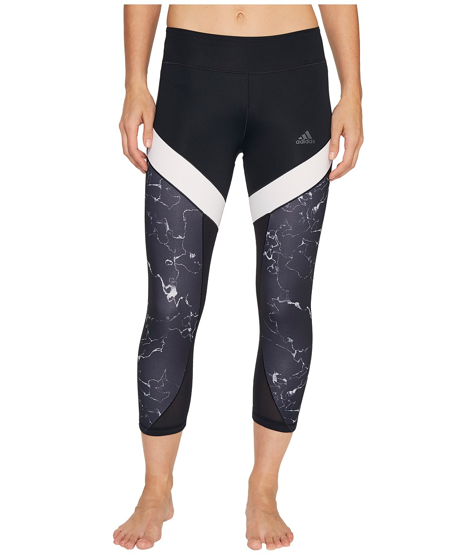 adidas - Marble Ultimate 3/4 Tights (Black) Women's Workout