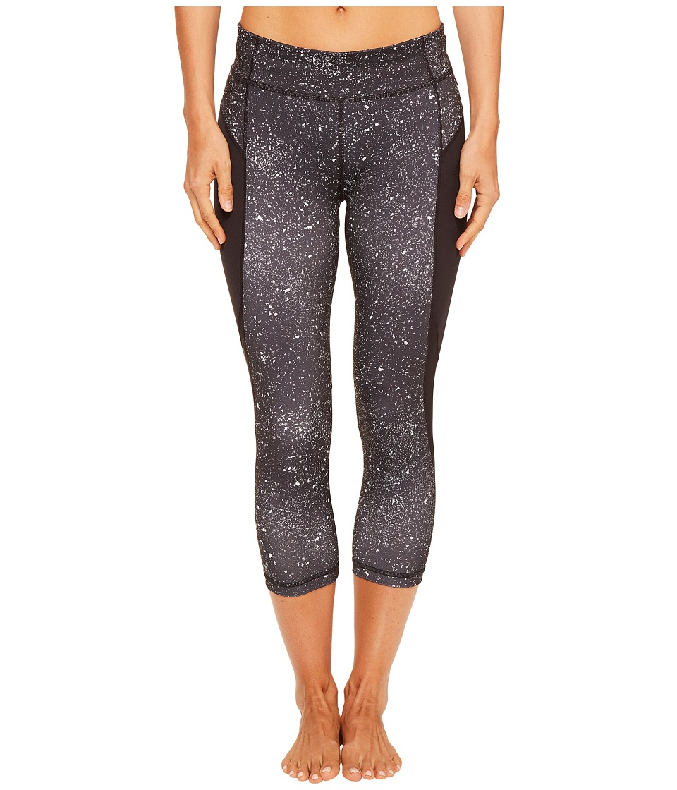 adidas - Fleck Performer Mid-Rise 3/4 Tights (Black Print/Black) Women's Workout