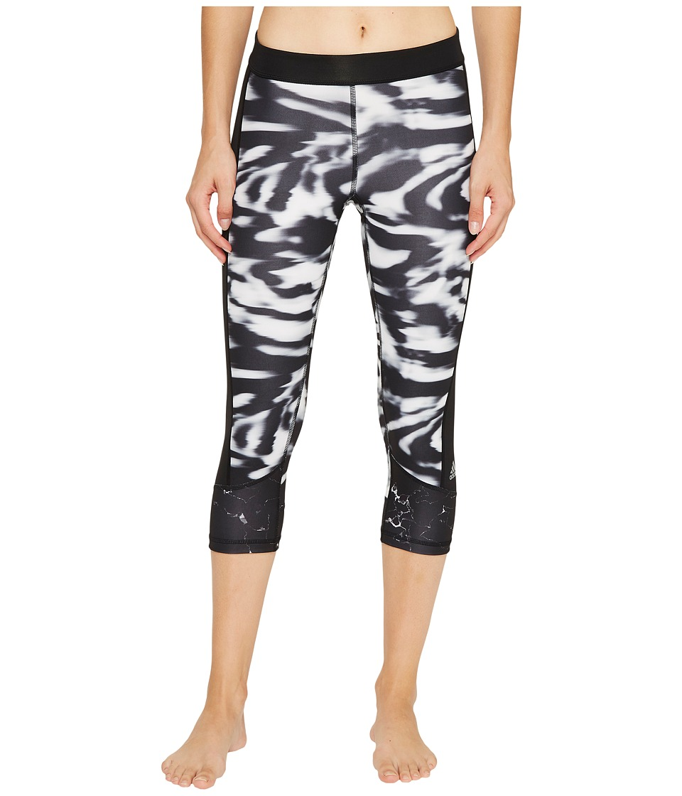 adidas - Marble Techfit Capri Tights (Black/Black Print) Women's Workout