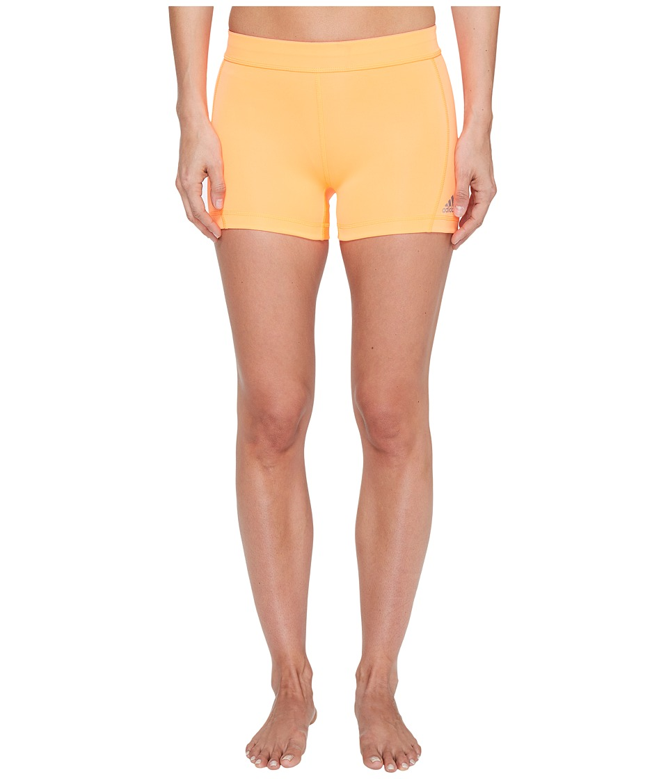adidas Techfit 3 Short Tights (Glow Orange/Matte Silver) Women