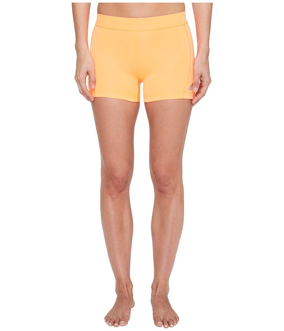 adidas Techfit 3 Short Tights (Glow Orange/Matte Silver) Women