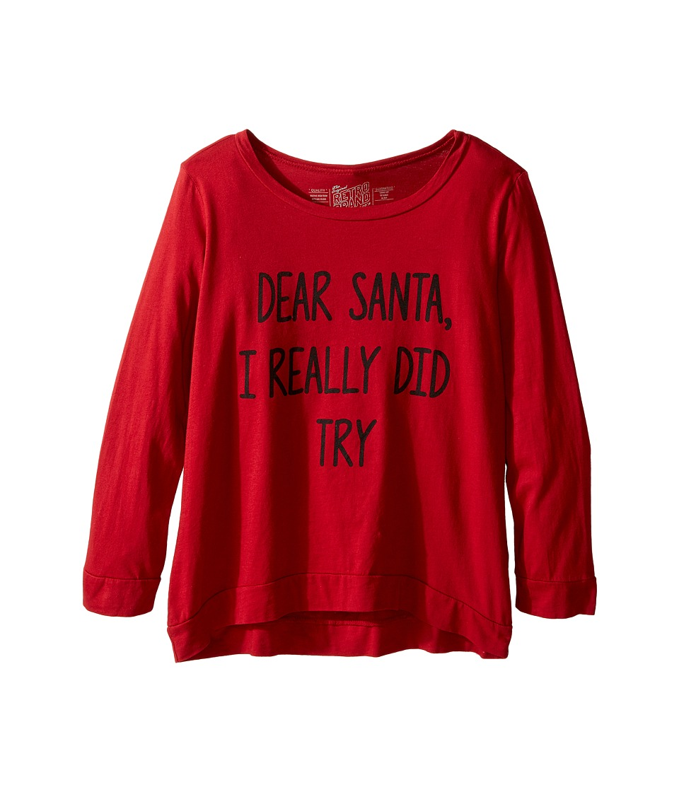 The Original Retro Brand Kids - Dear Santa I Really Did Try Long Sleeve Pullover (Little Kids/Big Kids) (Dark Red) Girl's Long Sleeve Pullover