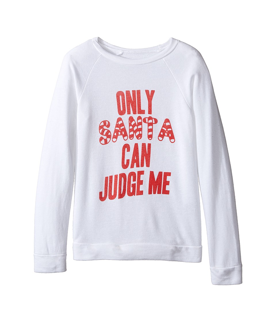 The Original Retro Brand Kids - Only Santa Can Judge Me Quad Pullover (Little Kids/Big Kids) (Quad White) Girl's Long Sleeve Pullover