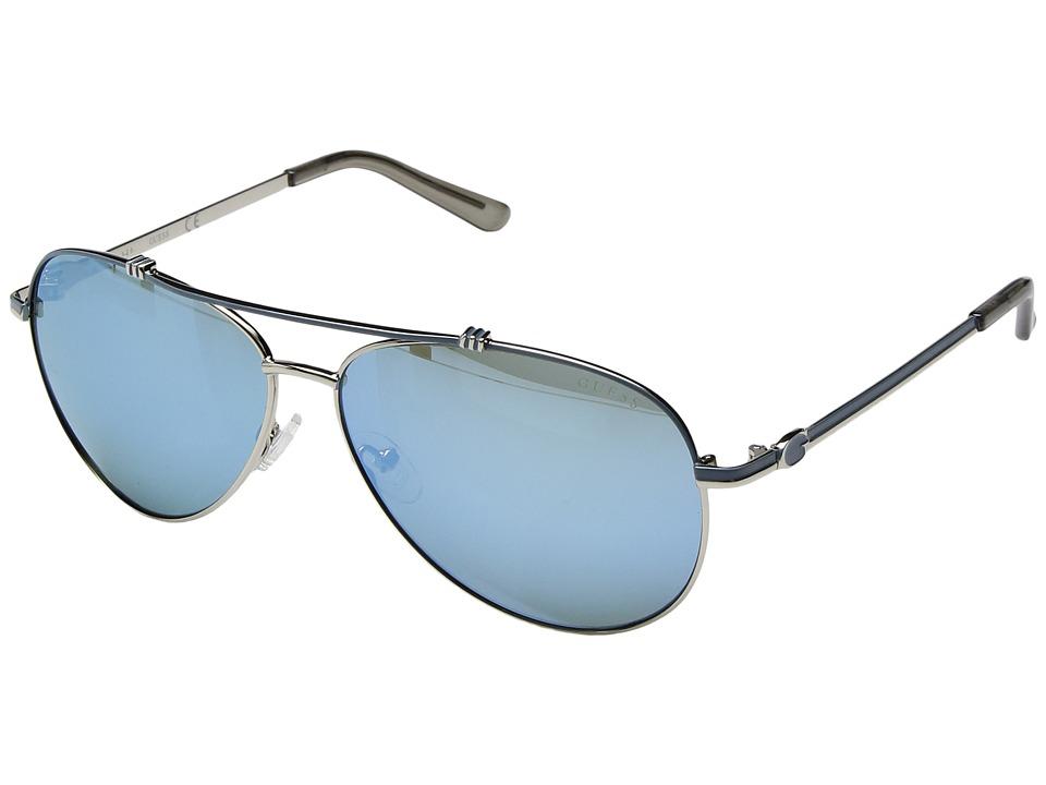 GUESS - GF6016 (Silver/Blue Mirror Lens) Fashion Sunglasses