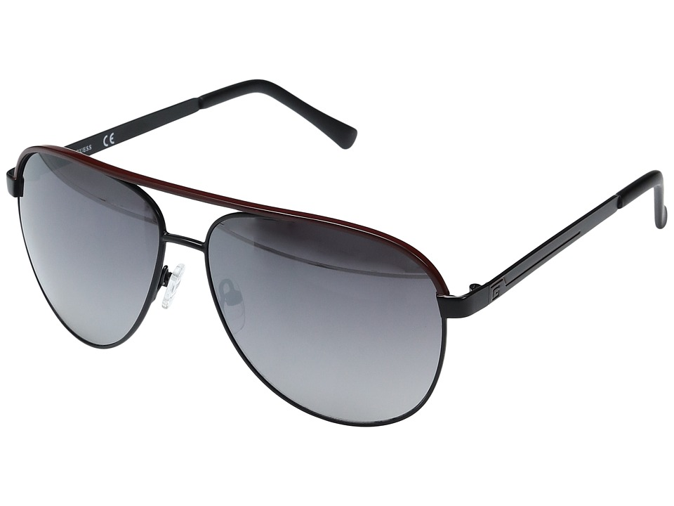 GUESS - GF0172 (Black/Red Line/Smoke Mirror Lens) Fashion Sunglasses