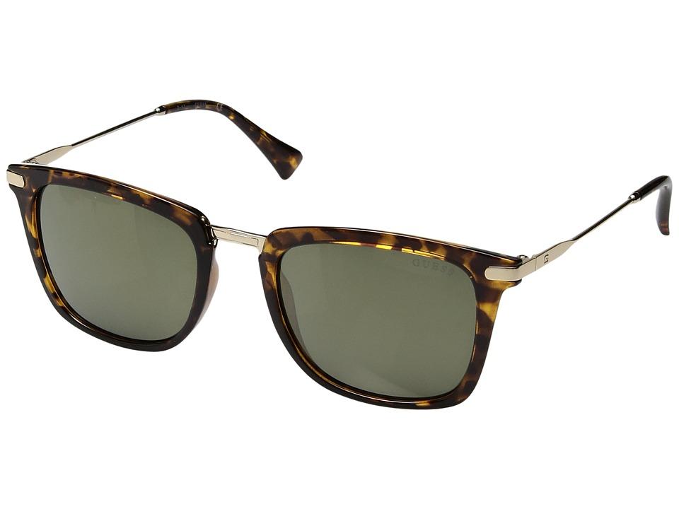 GUESS - GF5017 (Light Havana/Green Mirror Lens) Fashion Sunglasses