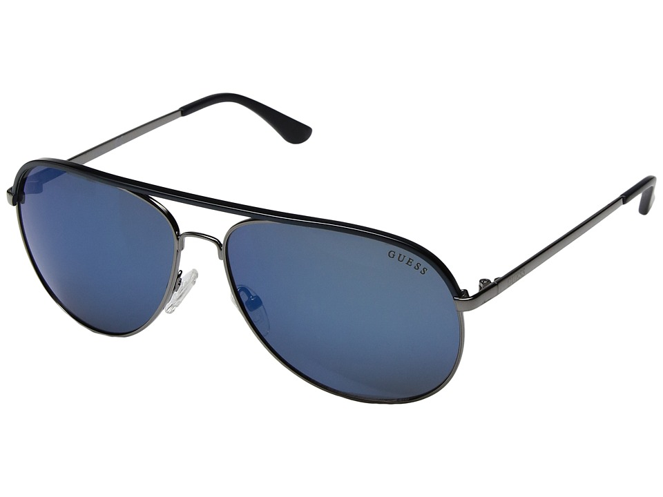GUESS - GF5013 (Gunmetal/Blue/Blue Mirror Lens) Fashion Sunglasses