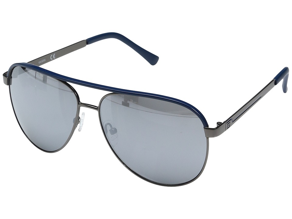 GUESS - GF0172 (Gunmetal/Navy Line/Smoke Mirror Lens) Fashion Sunglasses