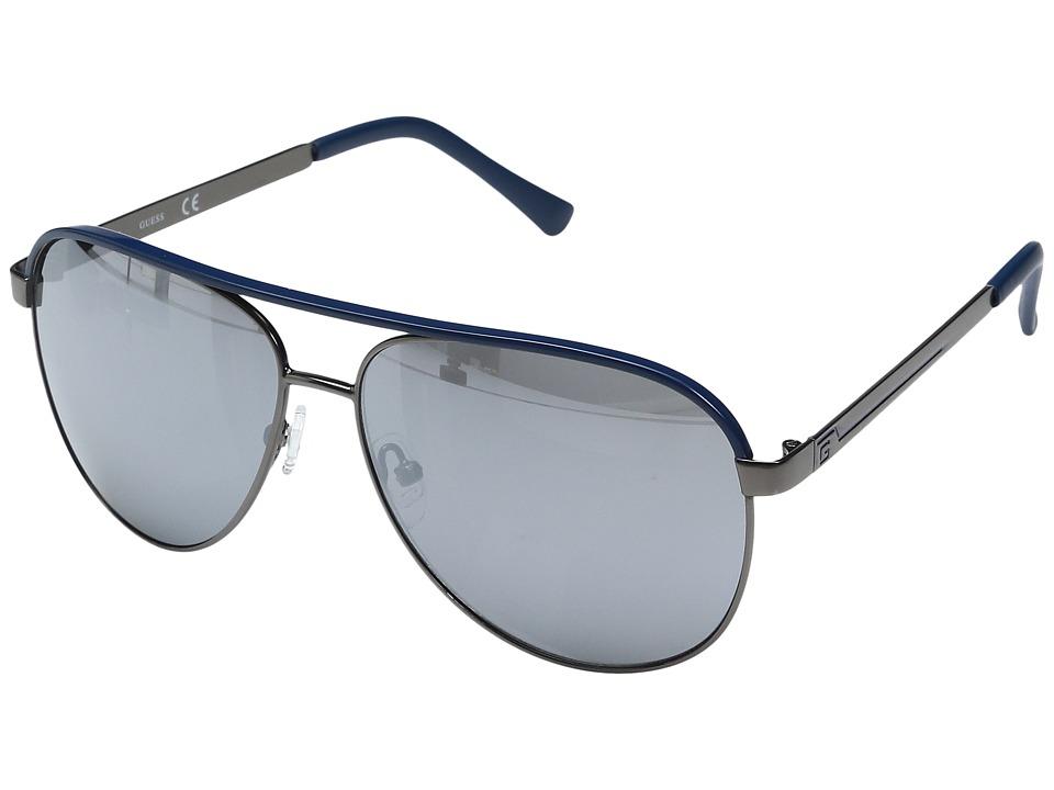 GUESS - GF0172 (Gunmetal/Navy Line/Smoke Mirror Lens) Fashion Sunglasses