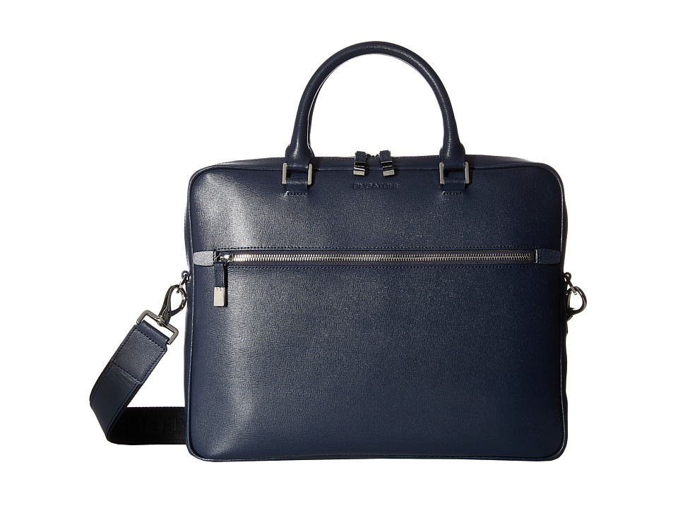BUGATCHI - Saffiano Leather Two-Tone Briefcase (Navy) Briefcase Bags