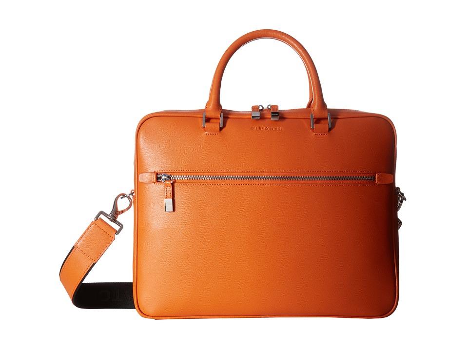 BUGATCHI - Saffiano Leather Two-Tone Briefcase (Orange) Briefcase Bags