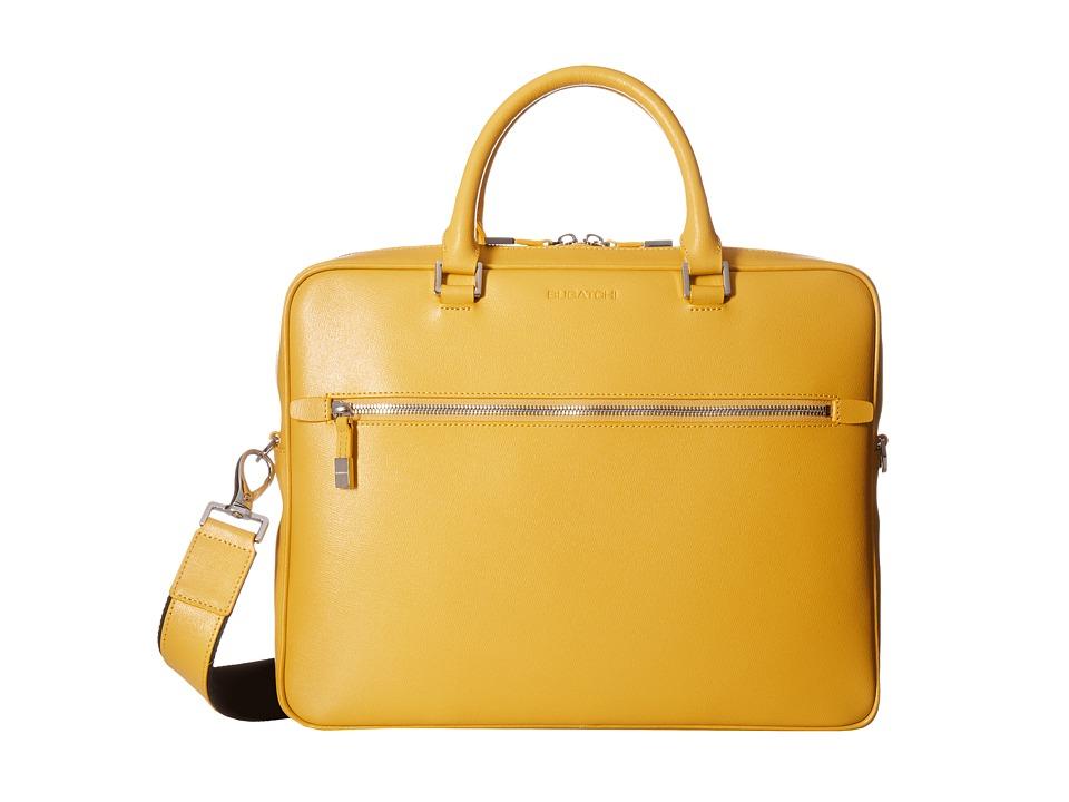 BUGATCHI - Saffiano Leather Two-Tone Briefcase (Sun) Briefcase Bags
