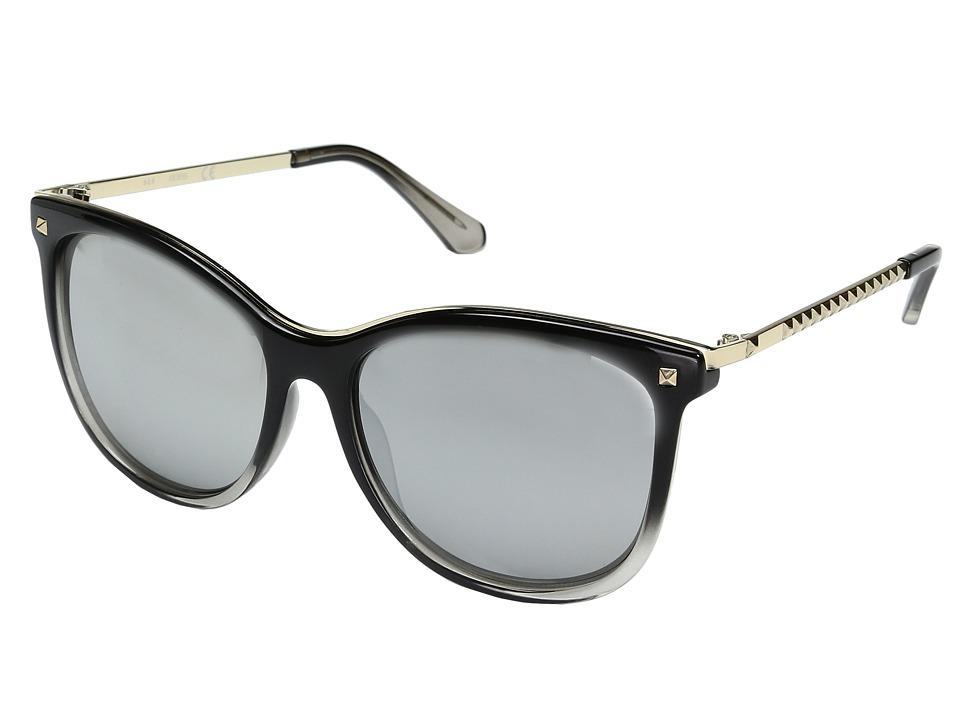 GUESS - GF0302 (Shiny Black to Crystal Grey/Smoke Mirror Lens) Fashion Sunglasses