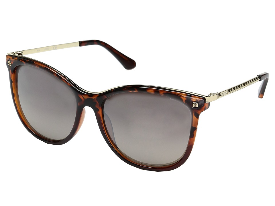 GUESS - GF0302 (Dark Tort to Crystal Brown/Brown Mirror Lens) Fashion Sunglasses