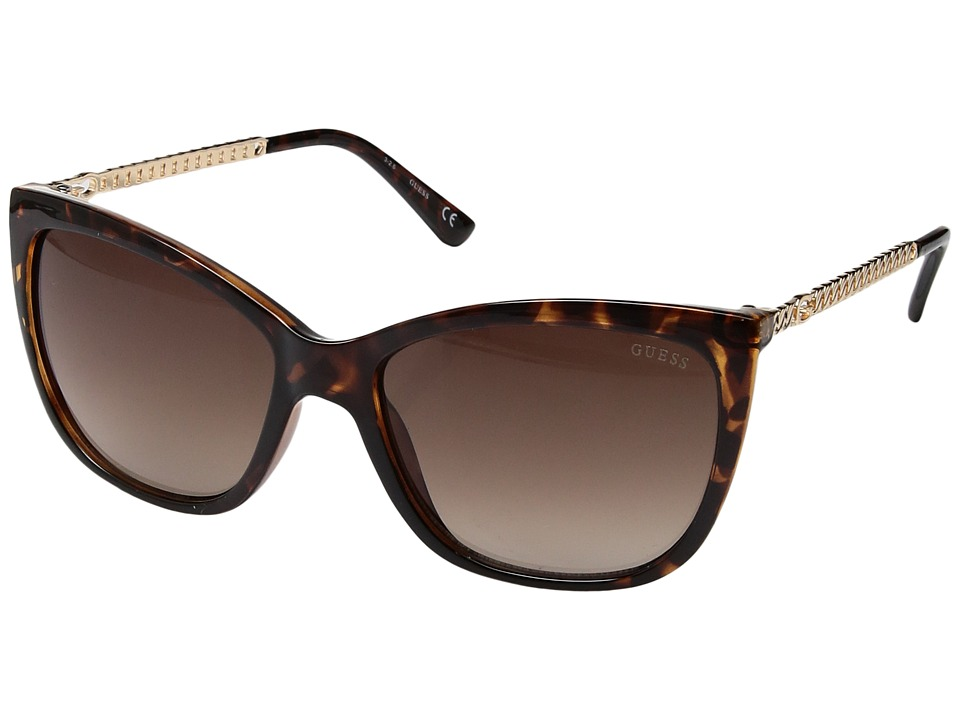 GUESS - GF6026 (Dark Havana/Brown Gradient Lens) Fashion Sunglasses