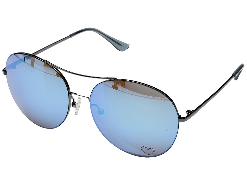 GUESS - GF6027 (Gunmetal/Blue Mirror Lens) Fashion Sunglasses