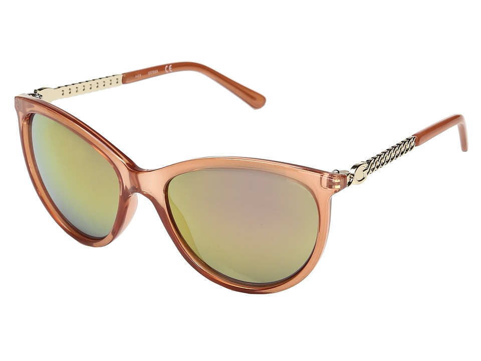 GUESS - GF0307 (Milky Pink/Rose Gold Mirror Lens) Fashion Sunglasses