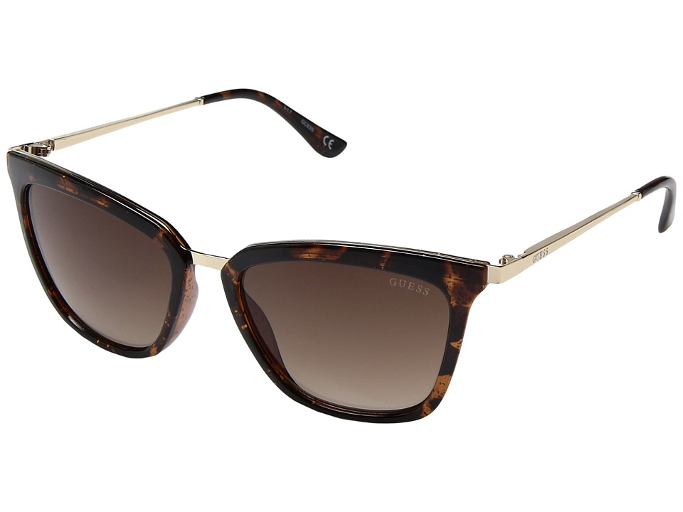 GUESS - GF6029 (Dark Havana Glitter/Brown Gradient Lens) Fashion Sunglasses